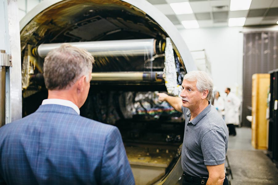 Mark Dombrowski, Vice President and Chief Technical Officer at SOC, explaining the work done with the 5 meter vacuum chamber.